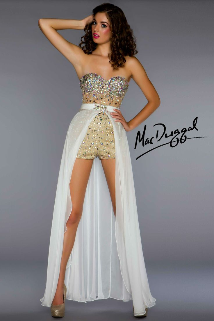 Mac Duggal Ivory Hot Short Prom Dress With Detachable