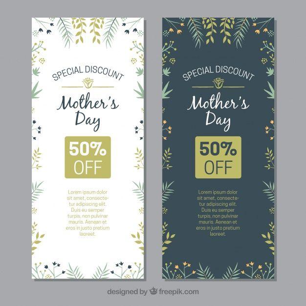 Dzień Matki kwiatowym transparenty z rabatami Darmowych Wektorów