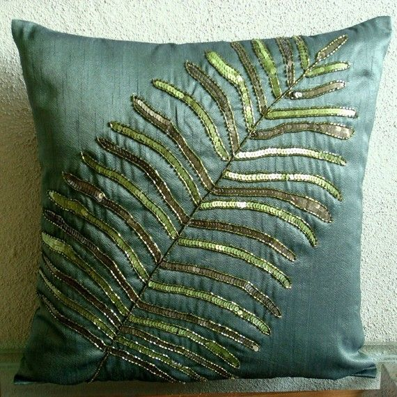 Floating Leaf - Throw Pillow Covers - 16x16 Inches Silk Pillow Cover with Sequin Embroidery. $25.50, via Etsy.