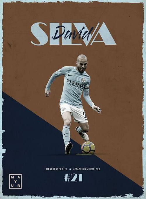 david silva manchester city football poster design and edit