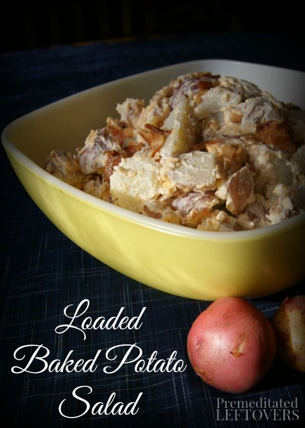 Loaded Baked Potato Salad Recipe - A delicious twist on traditional potato salad recipes. Loaded with cheese and bacon. This potato salad will be a hit!