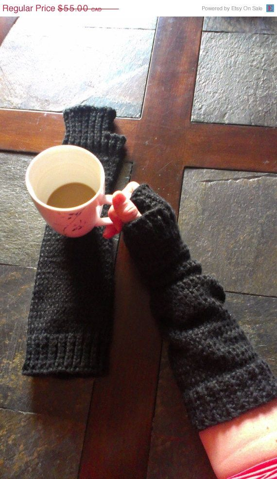 ON SALE Knitted Extra Long Fingerless Gloves  by DOVIESlovingKNITS, $44.00