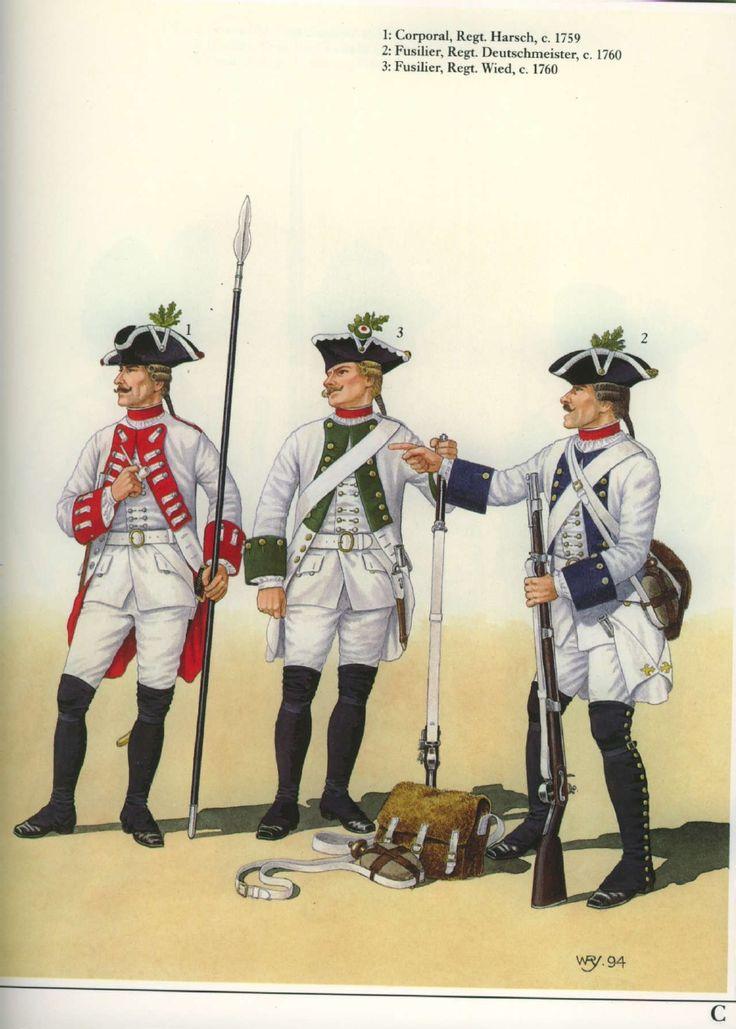 Austria; Infantry Regts of the Seven Years War, Regt Harsch, Corporal, 1759. Regt Deutschmeister, Fusilier, 1760 & Regt Weid, Fusilier, 1760.