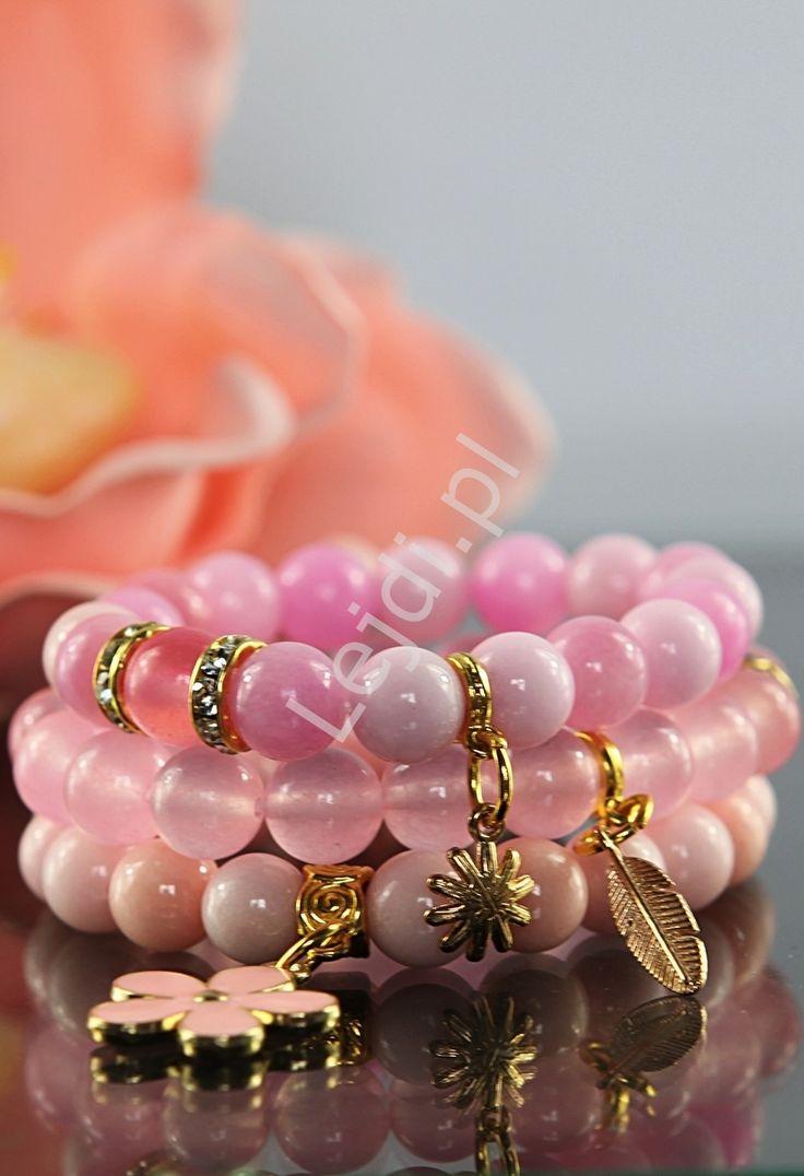 DIY bracelets. Bransoletka z kamieni  | kamienie naturalne, hand made , różowe, pastelowe. www.lejdi.pl