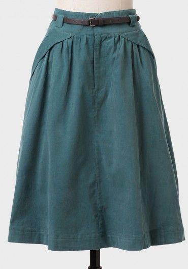 Take The Train Corduroy Skirt In Teal   Modern Vintage Bottoms   Modern Vintage Clothing