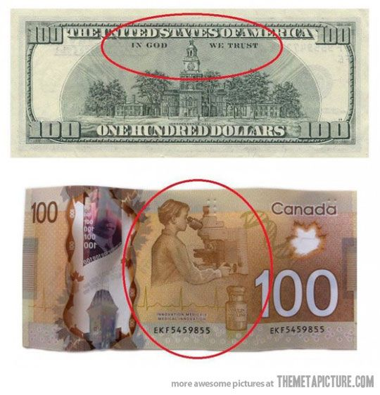 American vs. Canadian Money.....Because we in Canada know that SCIENCE is MUCH more important than god!!