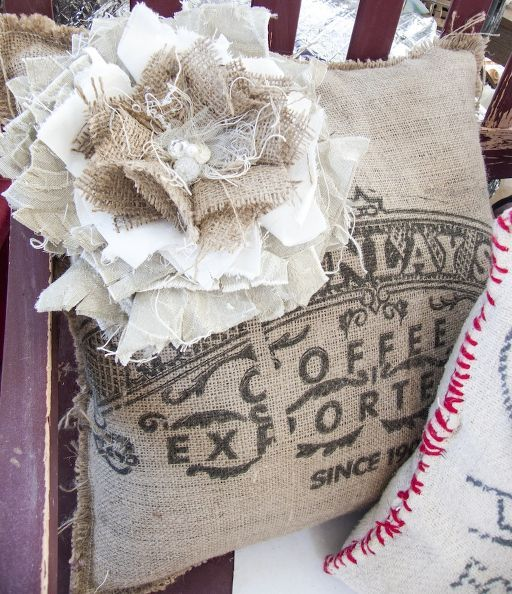 diy shabby flowers, crafts, Here a coffee bean bag pillow has a darling accessory from a shabby flower