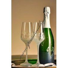 Ποτήρι σαμπάνιας γάμου Λευκό πεταλούδες Hand painted wedding champagne flute White butterflies