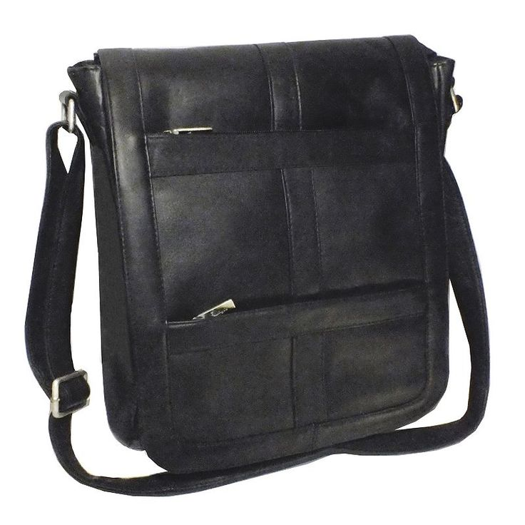 Royce Leather Vaquetta Vertical Laptop Messenger Bag, Black