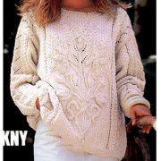 Белый свитер с объемным узором. Схем