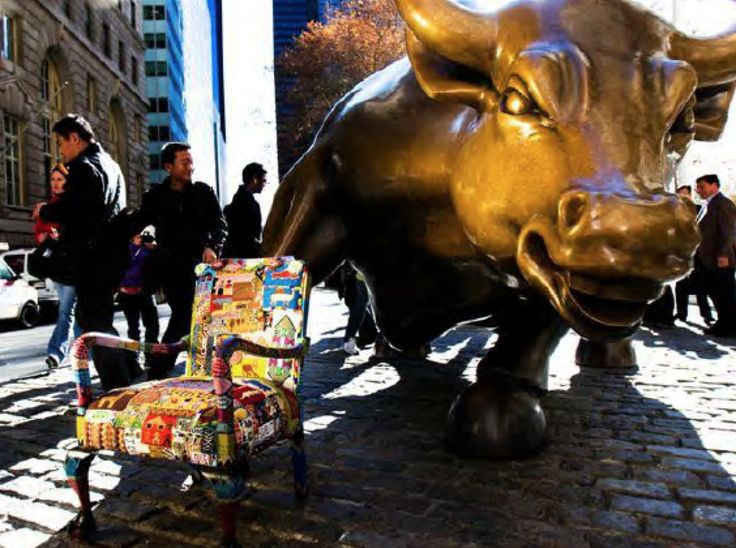 """Photography by Dominic Ronzo """" Dreaming of strength, power, and hope for the future of all American people """" ArutoDi Modica""""sCharging bull , New York Stock exchange"""