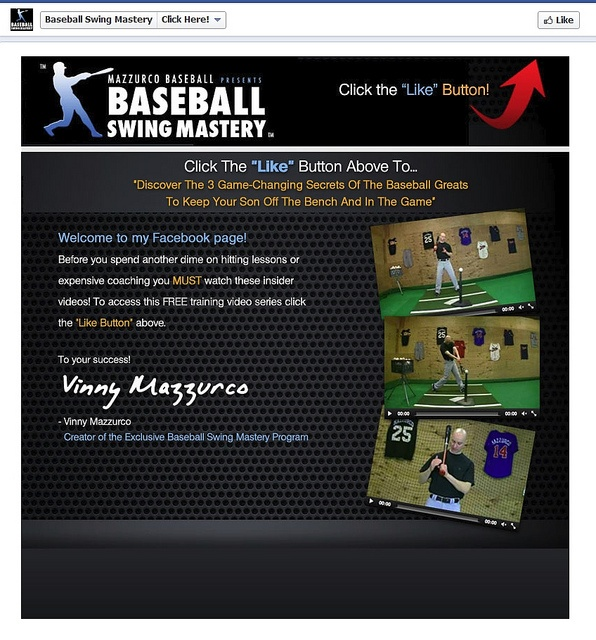 """Baseball Swing Mastery """"Before"""" Facebook  Reveal App Page by CustomPageDesigns, via Flickr"""