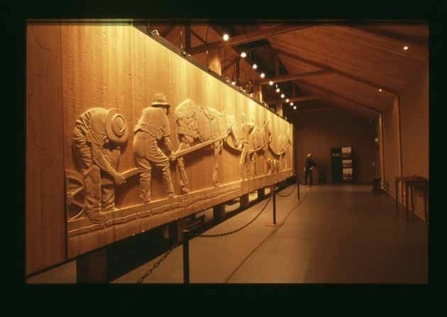 Tasmanian sculptor Greg Duncan is carving a monumental frieze out of Huon Pine that will eventually be 100 metres long.
