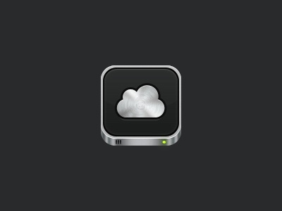 I love this metal texture in this cloud disk ios app icon