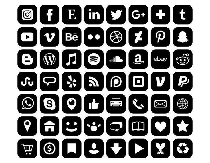 Square Social Media Icons Set Png Svg Vector Transparent Rounded Corner Black White Flat Buttons Website Digital Icons Commercial Use Clip Art Ensembles D Icones Dessin Noir Et Blanc