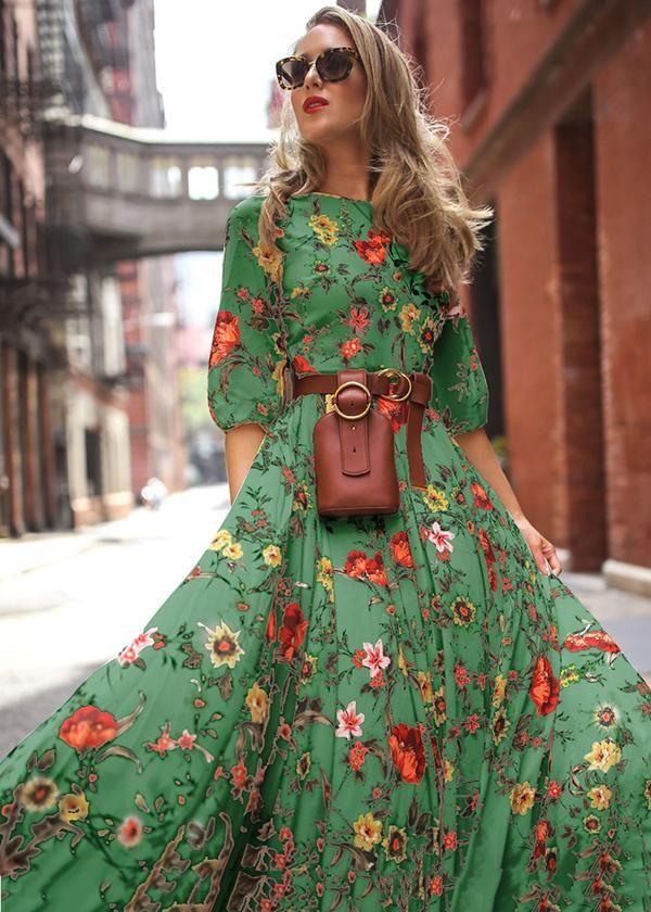 Round Neck Half Sleeves Bohemia Maxi Dress – oshoplive