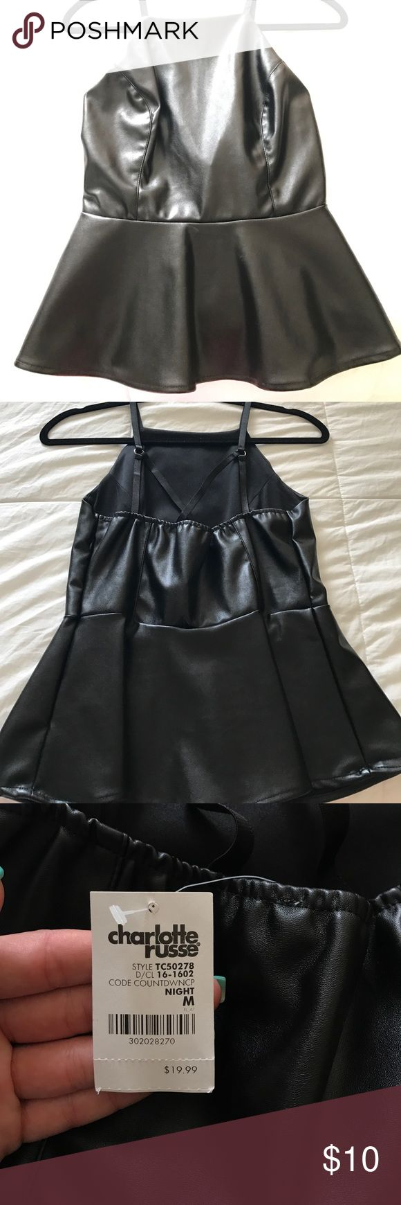 Black leather top Black, strappy, leather peplum top Tops Tank Tops