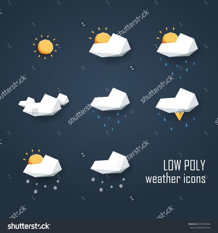 Low Poly Weather Icons Set. Collection Of 3d Polygonal Symbols For Forecast…