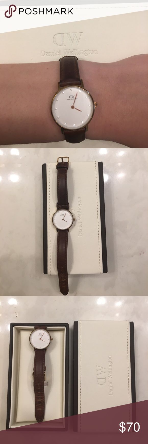 "Daniel Wellington Watch Daniel Wellington ""classy St. Mawes"" Brown leather women's watch. Small and dainty. Has quartz mineral crystals in place of numbers. Mild sign of wear (worn about a dozen times). Comes with box. Price is firm. No trades. Daniel Wellington Accessories Watches"