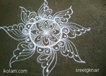 pretty, white rangoli
