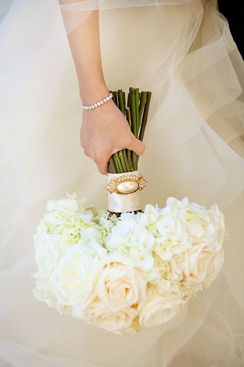 Classic white rose and hydrangea bouquet | Michelle VanTine Photography | Brides.com