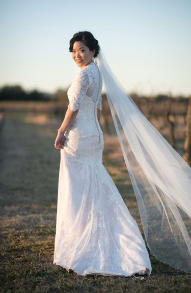 Shenn-Li in custom Louise Alvarez Couture gown. Romantic chantilly lace and beautiful blush satin create a romantic gown for a Hunter Valley wedding. www.louisealvarez.com.au (02)9904 6566 Photography by ben Teh Photography