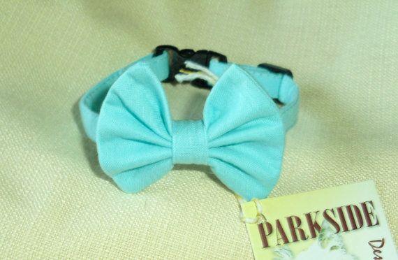 Robin Egg Blue Kitten Bow Tie Collar