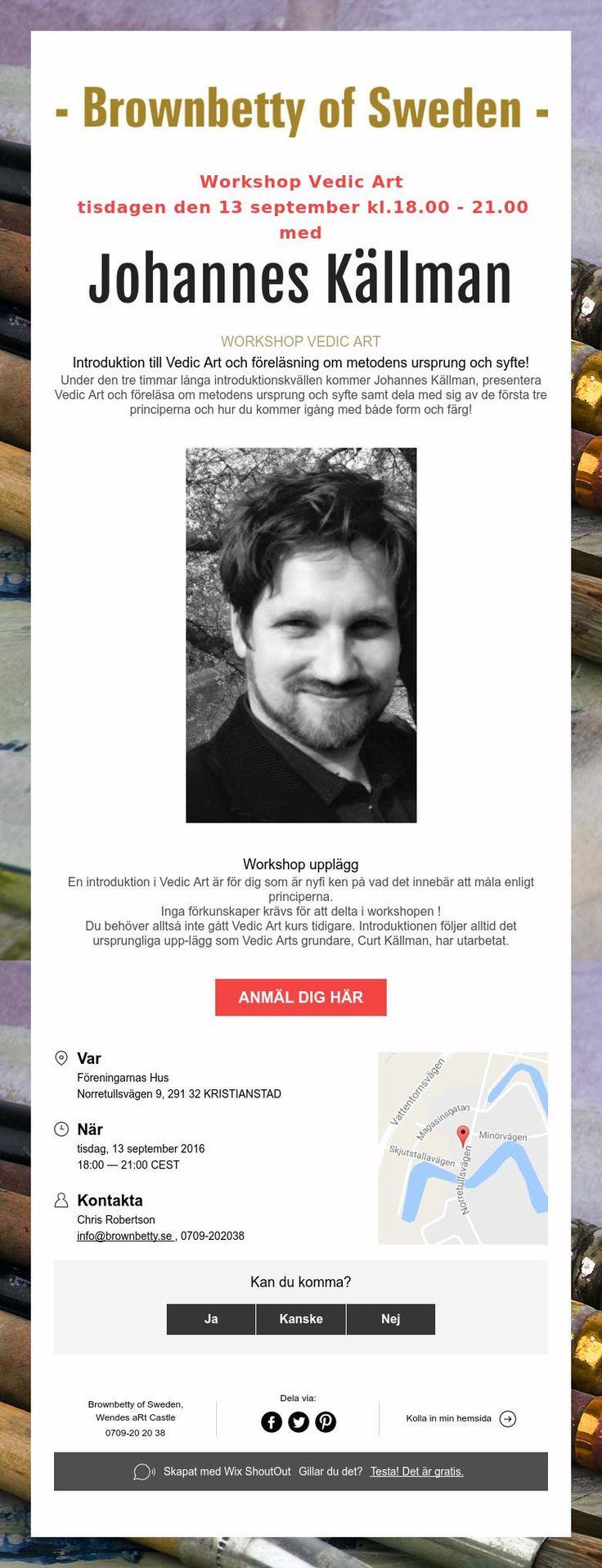Workshop Vedic Art  tisdagen den 13 september kl.18.00 - 21.00  med  Johannes Källman