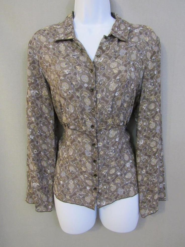 J Jill Top Size S Rayon Button Blouse Floral Long Sleeve Gray Blue Career  Sheer #