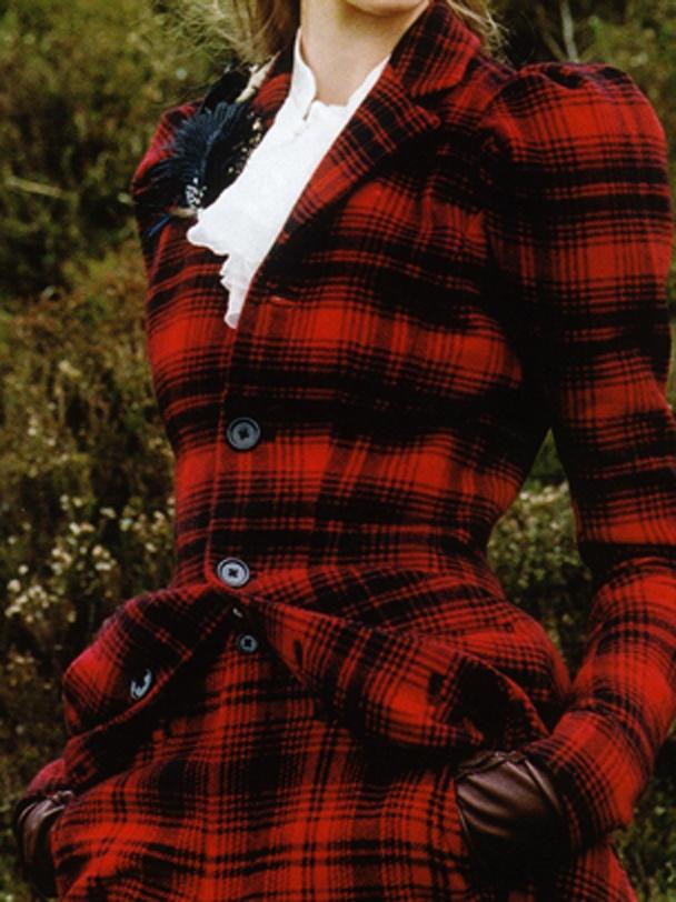 Beautiful red plaid jacket and skirt.  British Vogue 2008
