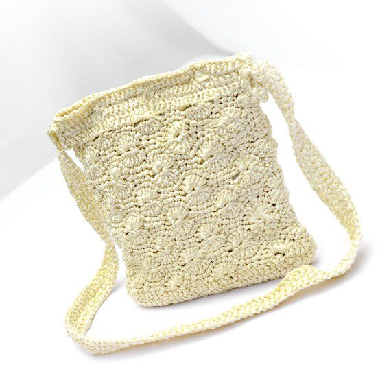 Personalized Knit bag Ivory crossbody purse Crochet cream handbag Handmade Gift …