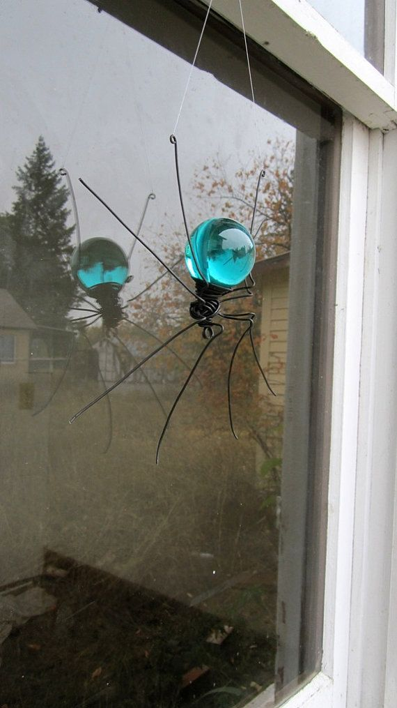 Beautiful Blue Sun Catcher Window Spider Hanging by thedustyraven
