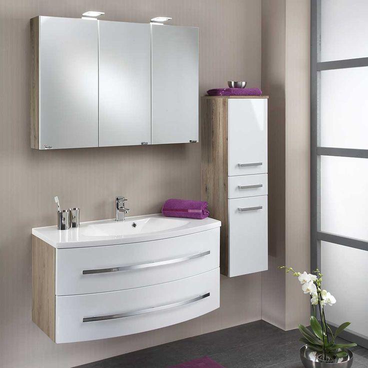 Badezimmermöbel Set In Weiß Hochglanz Eiche (2 Teilig) Jetzt Bestellen  Unter: Https