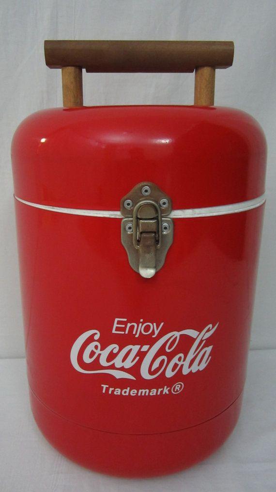 Round Styrofoam Cooler ~ Coca cola metal advertising ice chest coke cooler round