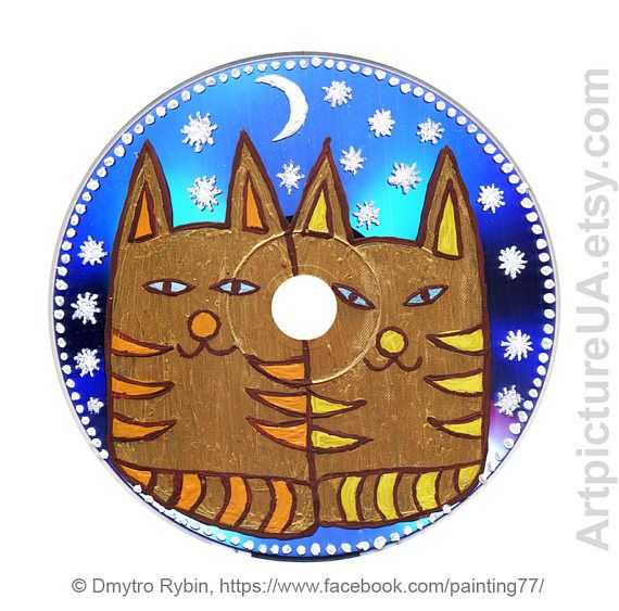 Two mystical cats under the stars. Acrylic painting on DVD