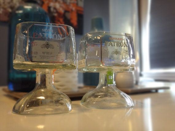 Set of Two Small Patron Tequila Bottle Margarita Drinking Glasses 375ml on Etsy, $45.00