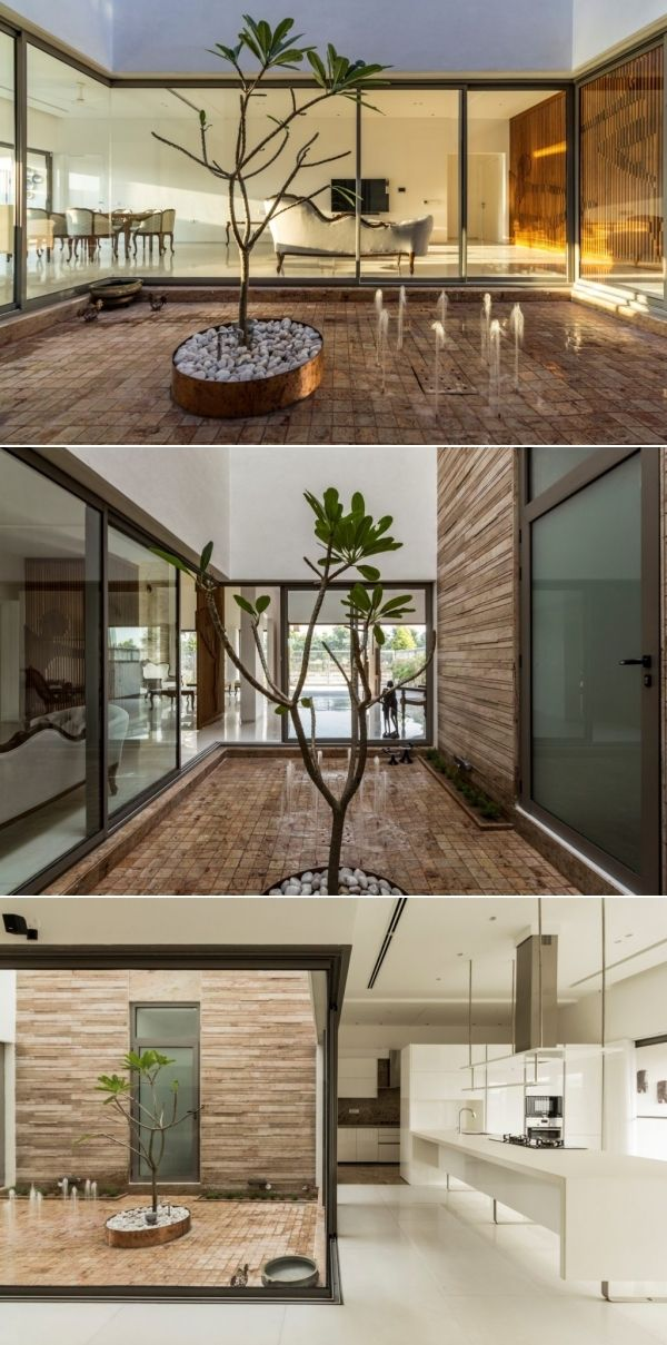 House Around A Central Courtyard Charged Voids The Architects Diary Modern Small House Design Courtyard Design Courtyard Garden