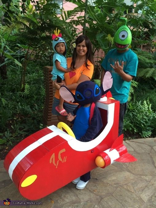 Darcie: Our lilo and Stitch costume Theme came from my son. He loves the movie! Stitch: Stitch is worn by my son. Mask is made from paper mache and covered with...