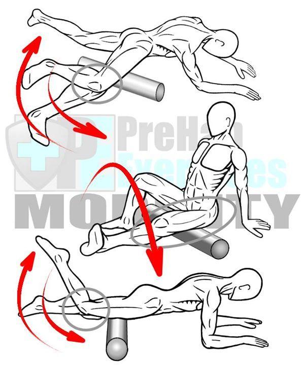Espuma del balanceo los aductores, bíceps femoral y el cuádriceps - Músculos de la pierna y la ingle con la unión articulada de los beneficios de la rodilla: Aumenta el rango de movimiento de la cadera y la cadena posterior.  Mejora la transferencia de la fuerza y la coordinación entre la cadera, columna vertebral ...