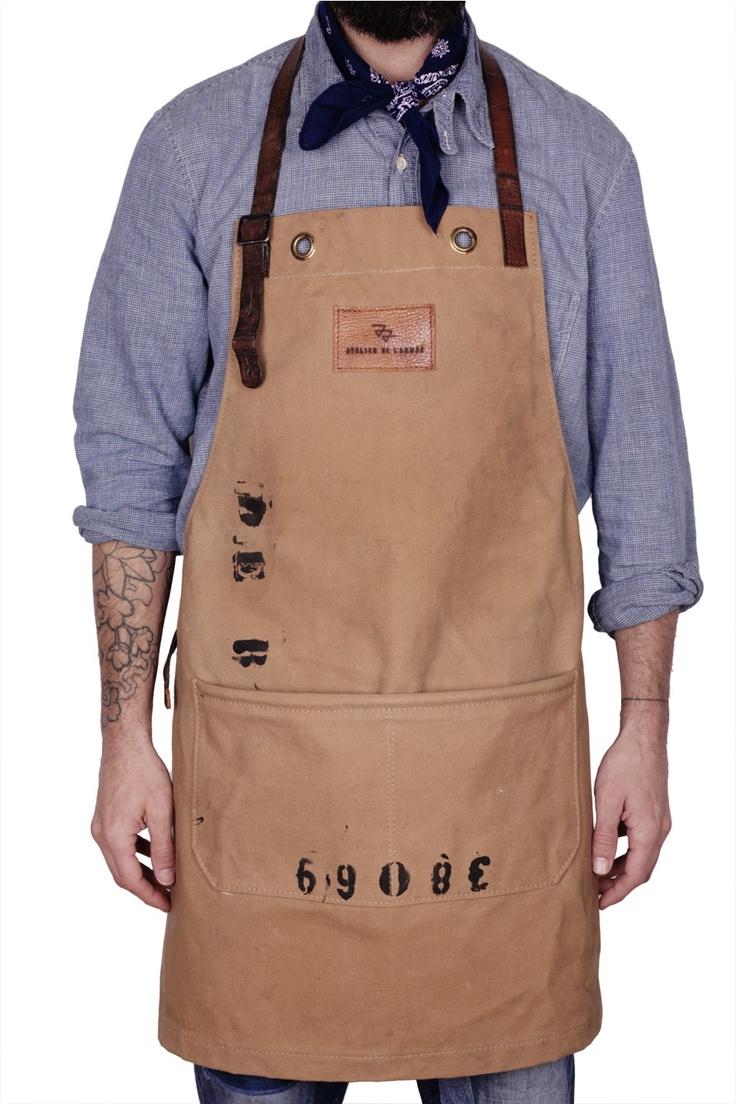 White apron mockup - Atelier De L Arm E Apron Made From Royal Dutch Navy Duffel Bag