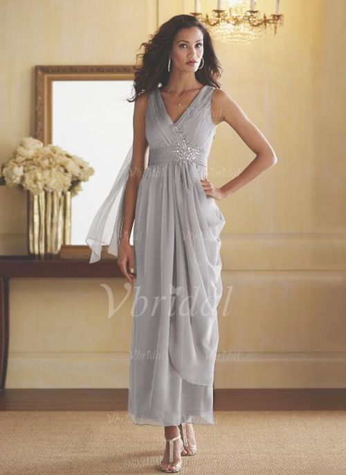 Mother of the Bride Dresses - $119.39 - Sheath/Column V-neck Ankle-Length Chiffon Mother of the Bride Dress With Ruffle Beading Cascading Ruffles (0085097335)