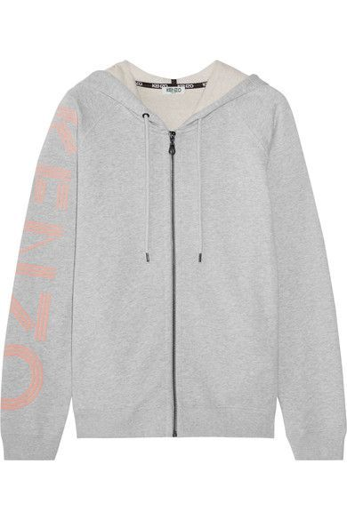 KENZO - Printed French Cotton-terry Hooded Top - Light gray -
