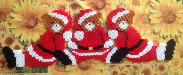Christmas teddies hama perler beads by cathy077