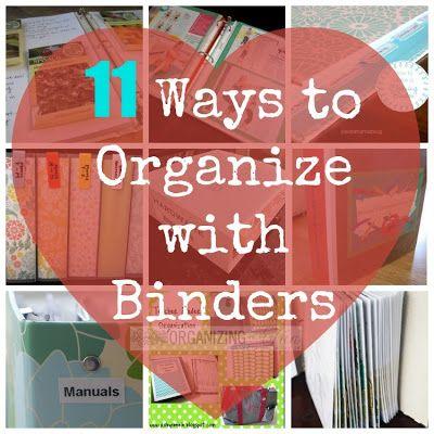 11 Ways to Organize with Binders - Home Management -Family Binder - Cleaning Binder - Hardware Binder - Financial Binder - Manuals and Warranties - DVD Organizer Binders - Fitness Binder - Gardening Binder - OrganizingMadeFun.com