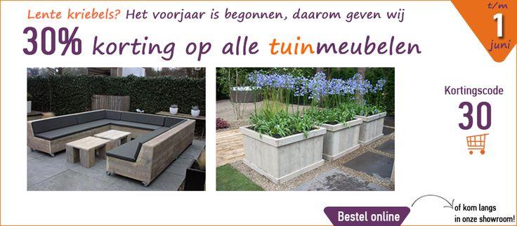 Geniet nog tot 1 juni van de 30% korting actie op alle tuinmeubelen! Maak uw tuin zomer klaar met de steigerhouten meubelen van Steigerhouttrend. Kijk voor het gehele assortiment op onze website; www.steigerhouttrend.nl