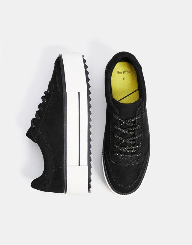 Black Platform Sneakers Bershka Fashion Product Shoes Zapatos Cool Trend Trendy Sapatos Sociais Masculinos Sapatos Oxford Femininos Estilo De Sapatos