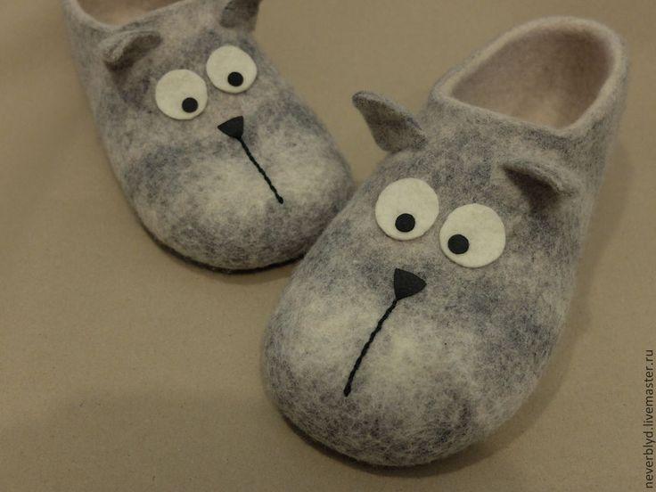 """Купить Тапки """"Котики"""" - серый, коты, Кошки, валяные тапки, тапки из войлока, котик"""