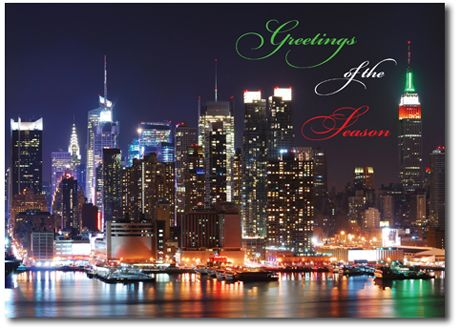 Waterfront lights new york city christmas cards an inviting event holiday cards