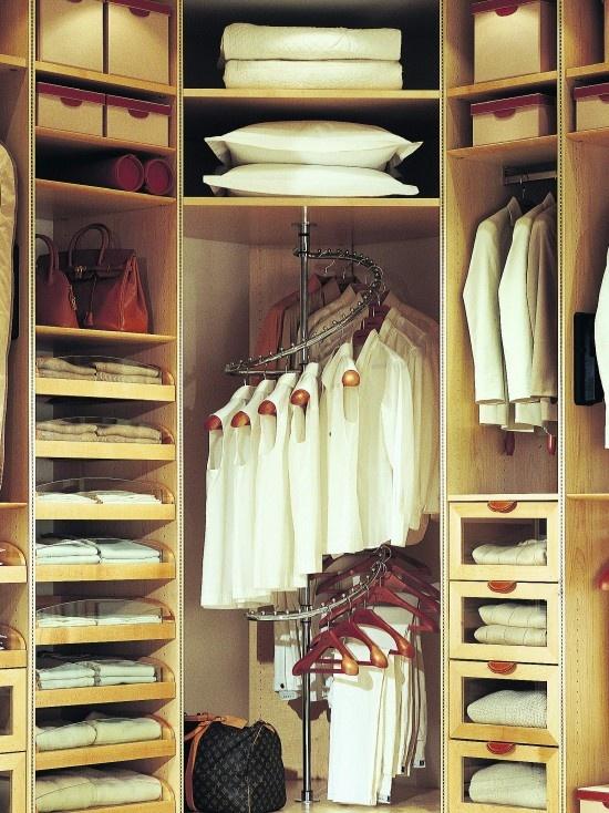 utilizing corner space of a closet