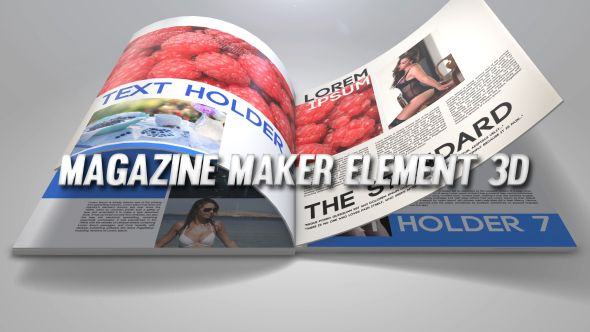 Magazine Maker Element 3D (3D Object) #Envato #Videohive #aftereffects
